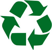 The Mobius band, the official logo indicating that a product is recyclable.