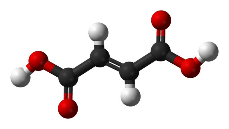 Fumarate is the conjugated base of fumaric acid (shown here). © Ben Mills, Wikimedia, public domain