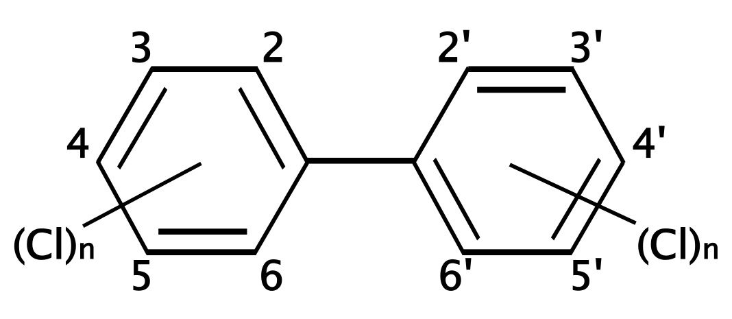PCBs are halogenated hydrocarbons. © D.328, Wikimedia, GFDL 1.2