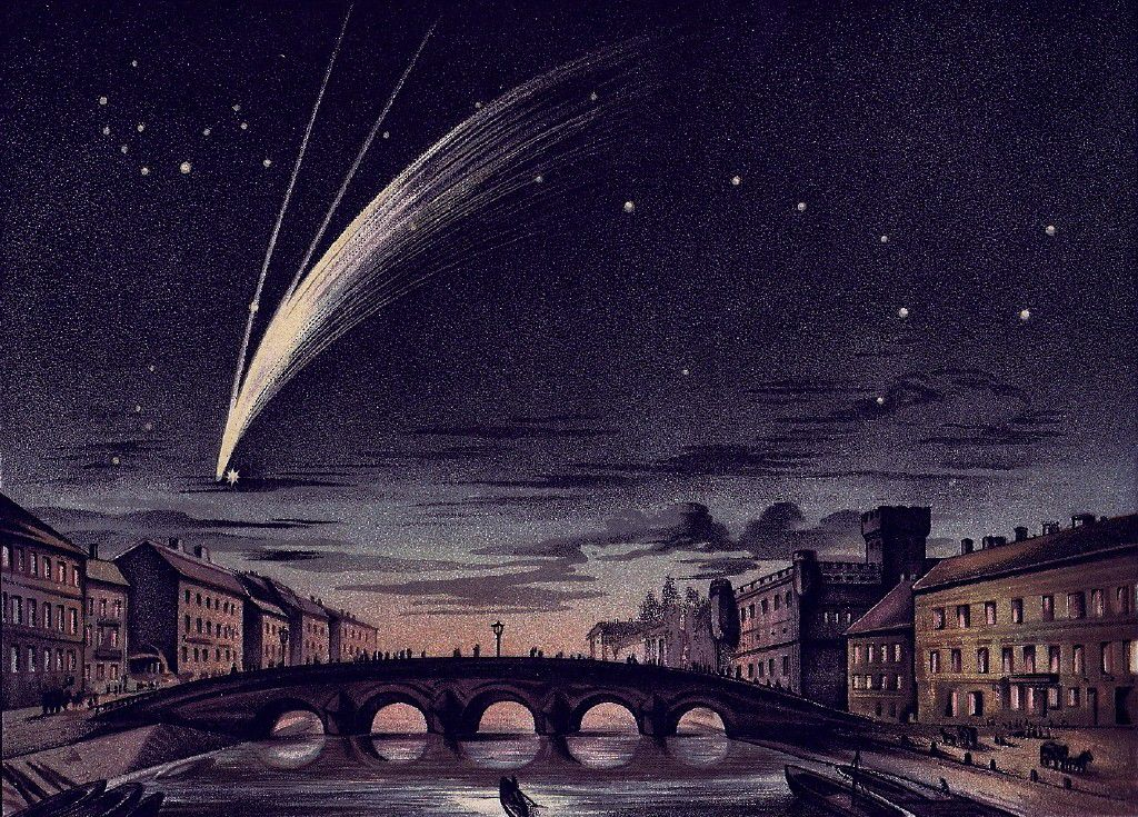 Donati's comet depicted by E. Weiß on 5 October 1858 passing beside  Arcturus in the constellation of Boötes.