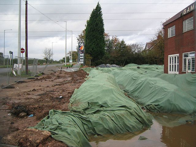 An environmental remediation work site for soil contaminated by the hydrocarbons from an old service station. © Stephen Johnson CC by-nc-sa 2.0