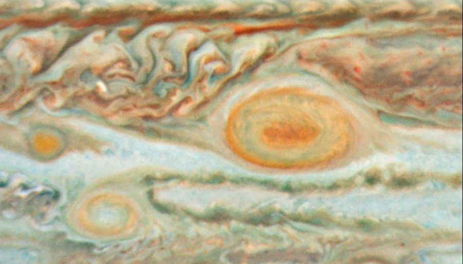 The Great Red Spot and its neighbourhood photographed in the visible spectrum by the Hubble telescope in May 2008. Credit NASA