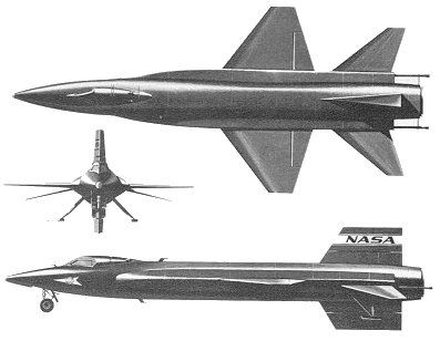 Drawings of the first version of the X-15. Note the short wingspan (6.8 metres for a fuselage length of 15.45 metres) and the imposing size of the tailplane, the lower part of which is ejected before landing. The main landing gear had no wheels and the X-15 landed on skids which can be seen on the front and side views. © NASA