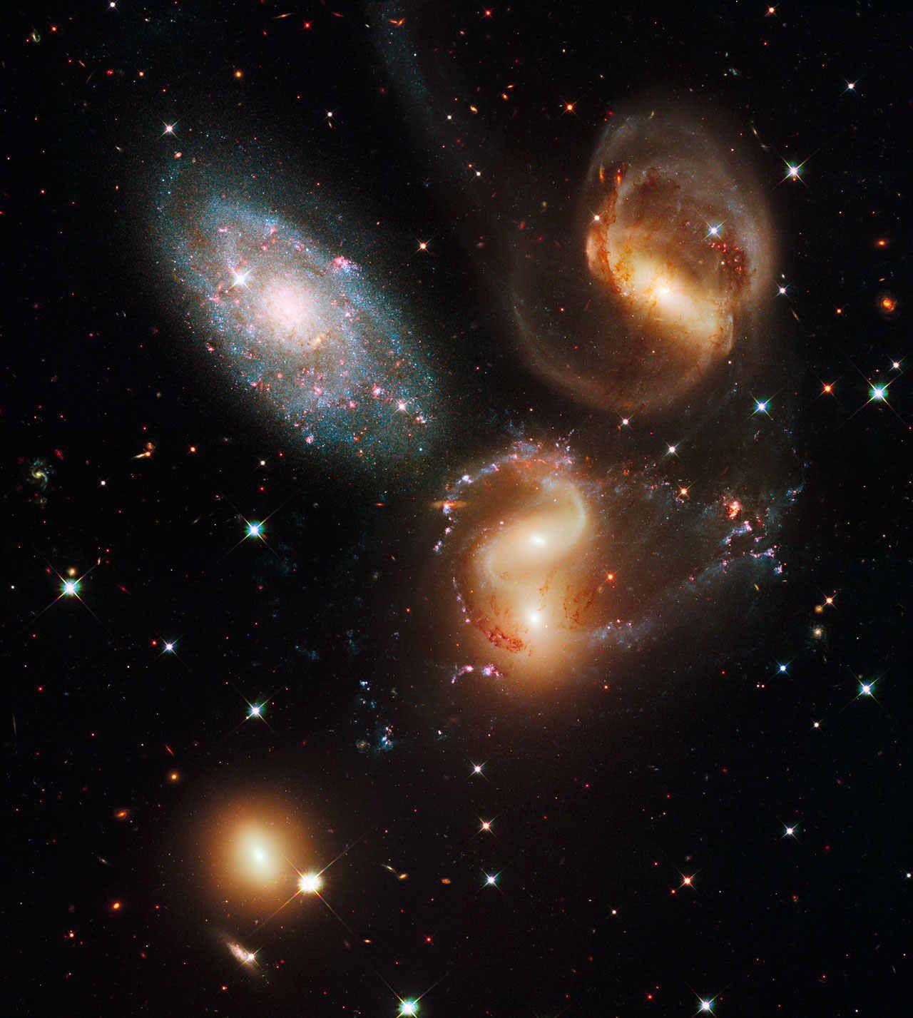 Stephan's Quintet photographed by the Hubble space telescope. Credit: NASA, ESA, Hubble SM4 ERO Team