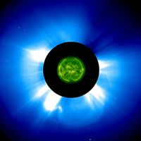 Photo montage of coronal mass ejection observed by SOHO instruments. (Credits: ESA/NASA)