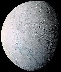 The icy world of Enceladus, a satellite of Saturn, seen by Cassini
