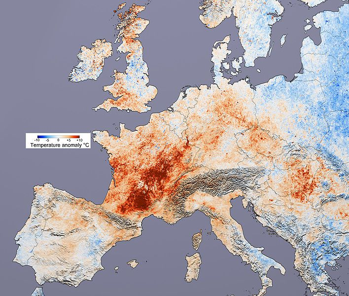 Thermal anomalies in Europe during the deadly heatwave of 2003. © Nasa, Wikimedia public domain