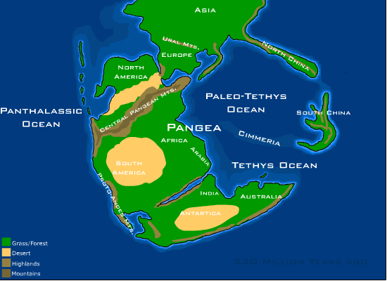 Representation of the Pangea supercontinent, the starting point of the last megacycle. © Dropzink, Wikimedia CC by-sa 2.5