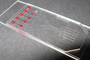 This microfluidic chip uses the properties of micro fluids to separate the corpuscles from blood plasma. © Ivan Dimov/UC Berkeley
