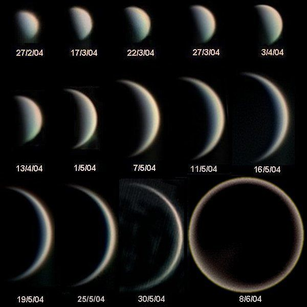 Phases of Venus and variation in its apparent diameter. © Wikipedia, Statis Kalyvas - VT-2004 programme