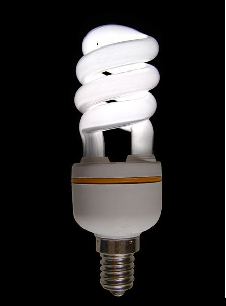 The electricity consumed to produce this lamp's light is a fraction of the primary energy actually used: final energy. © Mattia Luigi Nappi, Wikimedia CC by-sa 3.0