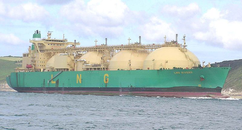 The LNG Rivers (for liquefied natural gas), a gas carrier with a spherical design. © Pline, Wikimedia CC by-sa 3.0