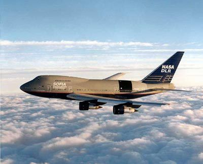 The SOFIA Boeing 747 in flight. (Credits: NASA)