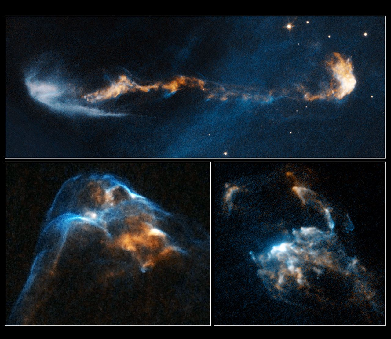Several images of Herbig-Haro objects seen by Hubble. From top to bottom and from left to right HH 47, HH 34 and HH 2. © NASA, ESA, P. Hartigan (Rice University)