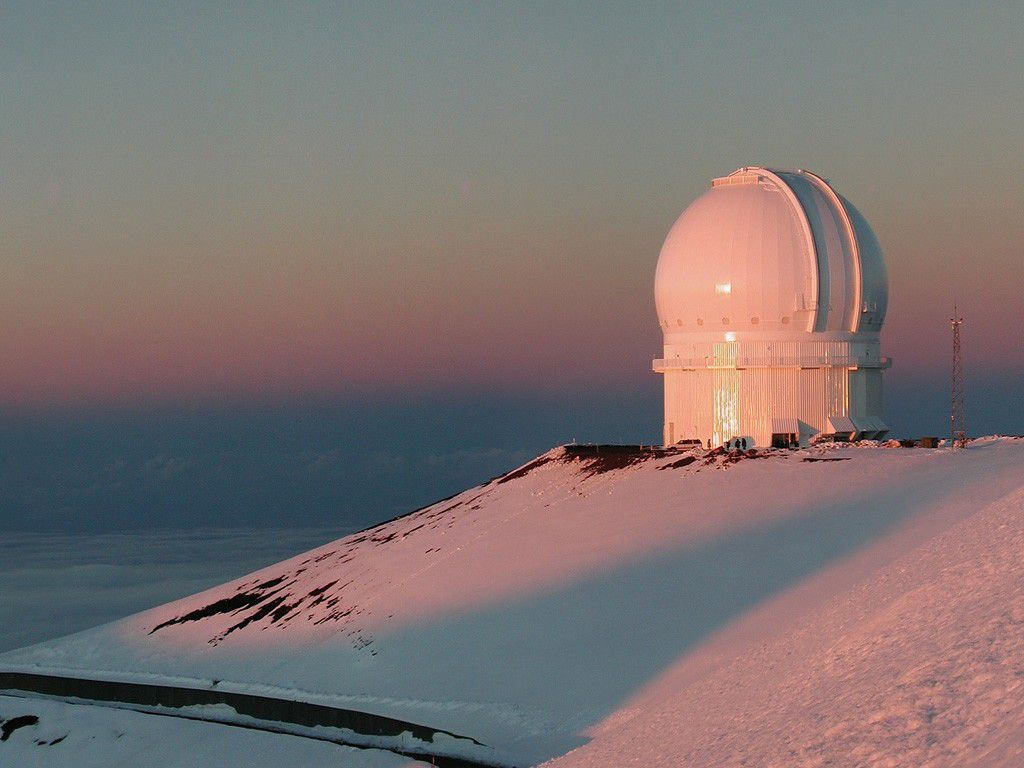 This dome houses the 3.6 metre diameter CFHT  telescope. Credit CFHT