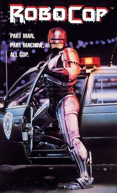 Robocop (here in the poster for the first film released in 1987) is the central character in this story. A very seriously injured policeman is given a host of equipment (including what is today called an exoskeleton), making him a supercop. © DR