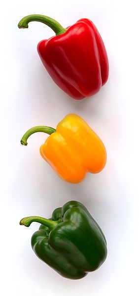 Bell peppers come in a wide variety of colours, for a decorative effect. © Wikimedia Commons
