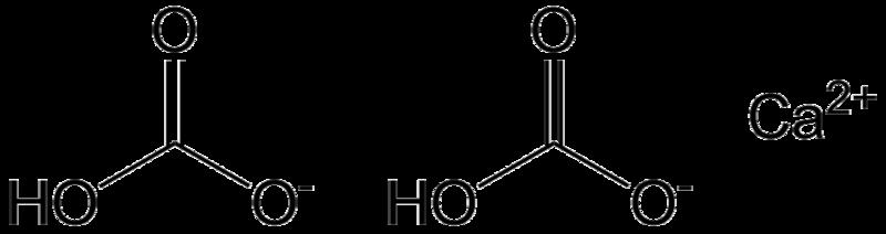 A calcium bicarbonate molecule in solution. Total alkali strength indicates bicarbonate ions. © Epop, Wikimedia public domain