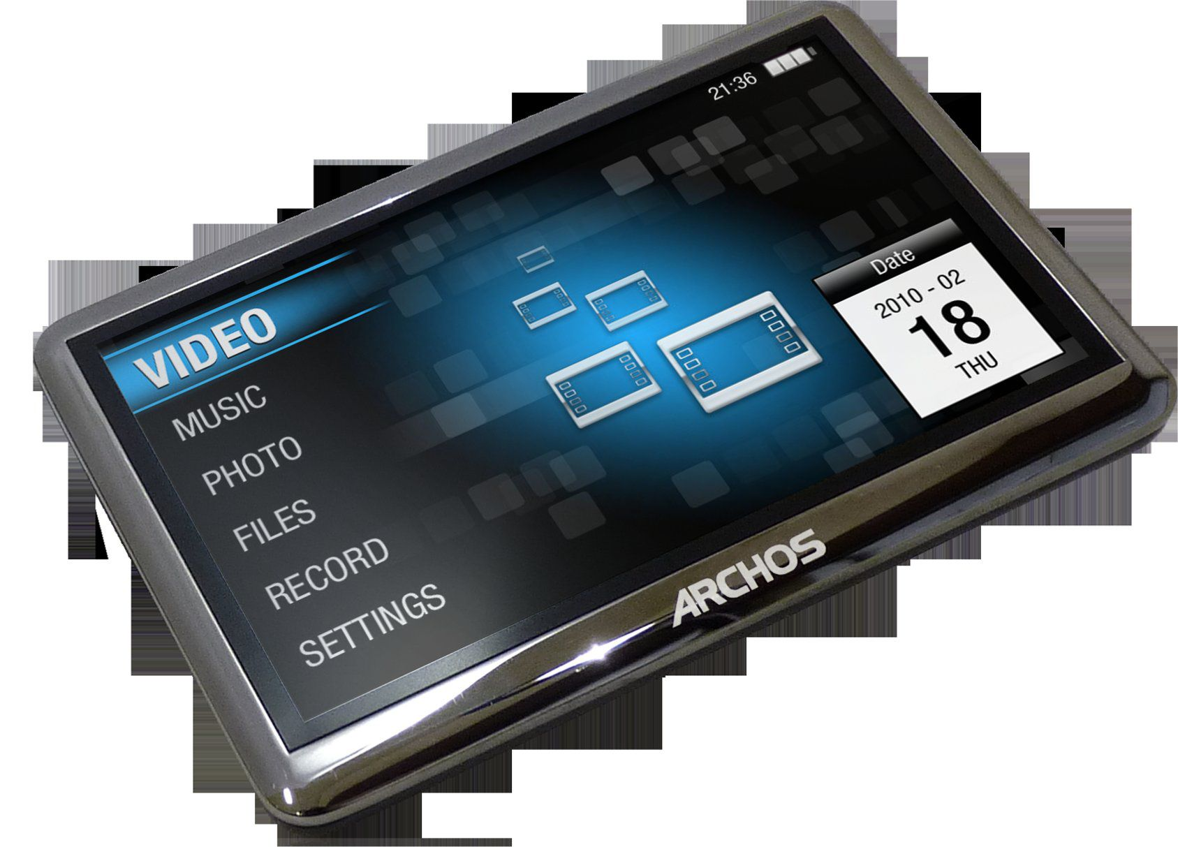 With the MPeg 4 video format, video can be played on various equipment such as computers, telephones or players such as this Archos 4-3 Vision model. © Archos
