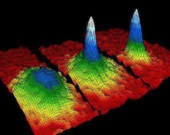 The formation of a Bose-Einstein condensate.