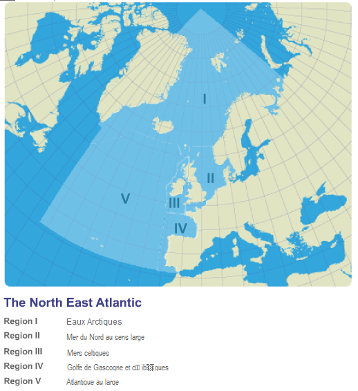 Zones of the North-East Atlantic addressed by the Convention. © OSPAR Convention
