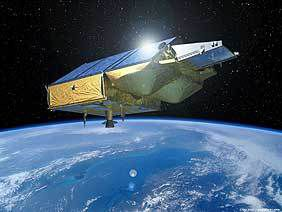Artist's impression of the CryoSat satellite surveying the ice floes and polar ice caps