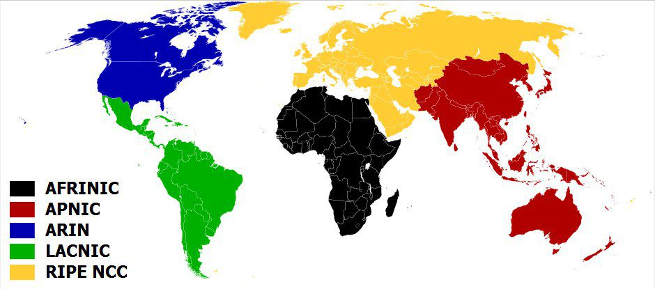 Map showing the geographic distribution of the RIRs. © CC by-sa 3.0