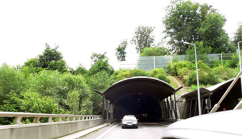 This wildlife corridor was designed as an embankment that the road passes through. The anti-noise barriers shown here are intended to reduce disturbances produced by road traffic. © F. Lamiot…, Wikimédia CC by 2.5