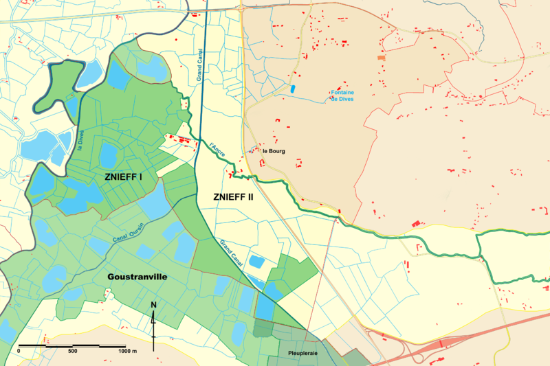 A map of the Brucourt ecological zones showing the different ZNIEFFs. © Michel d'Auge, Wikimédia CC by-sa 3.0