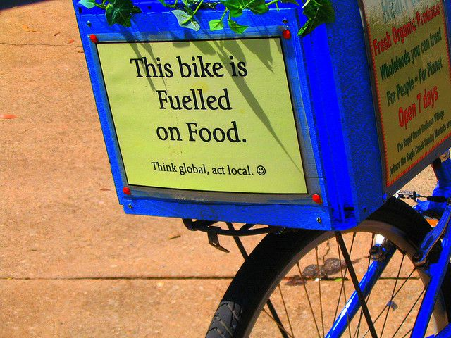 Muscle energy is a bioenergy. This bicycle is propelled using the energy provided by food. Think globally, act locally. © davidfntau CC by-nc-sa 2.0