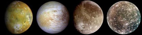 Various moons of Jupiter. From left to right: Io, Europa, Ganymede, Callisto