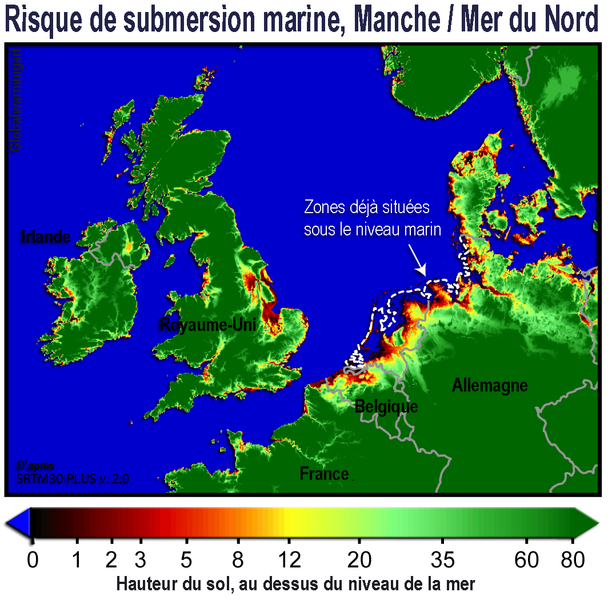 Zones at risk of submersion in the English Channel and the North Sea. © Lamiot CC by-sa