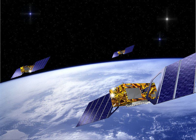 The satellites in the Galileo system, the future European satellite navigation system. © DR