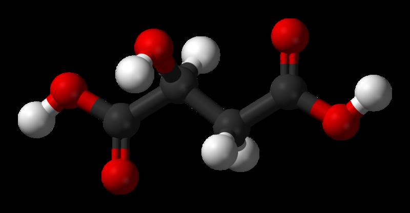 Malate is the conjugated base of malic acid.  © Kemikungen, Wikimedia, public domain