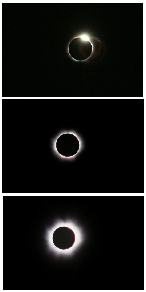 Three photos taken in succession during the total phase. They show the last ray of sunlight and then the appearance of the flares and the corona. Credit J-B Feldmann