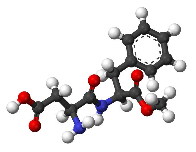 Aspartame is a dipeptide used as a sweetening agent.© Benjah-bmm27, Wikimedia, public domain