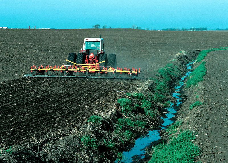 The absence of a buffer zone between the farmed part of a field and the watercourses increases diffuse pollution. © Lynn Betts / U.S. Department of Agriculture, Natural Resources Conservation Service, public domain
