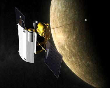 The planet Mercury and the Mariner 10 probe. © Nasa/Johns Hopkins University Applied Physics Laboratory/Carnegie Institution of Washington