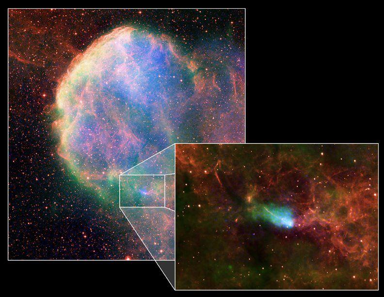 Supernova residue observed by the Chandra-X-ray satellite. © Chandra X-ray / Nasa / CXC, B. Gaensler et al.