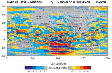 Map of the crustal magnetic field of Mars made using a magnetometer.