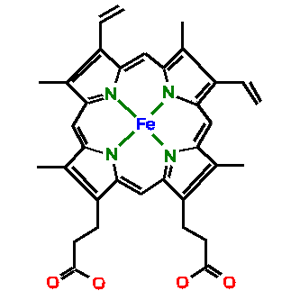 Molecular structure of haem with the iron atom at the centre of the porphyrin. © Alan J. Cann CC by-nc-sa 2.0