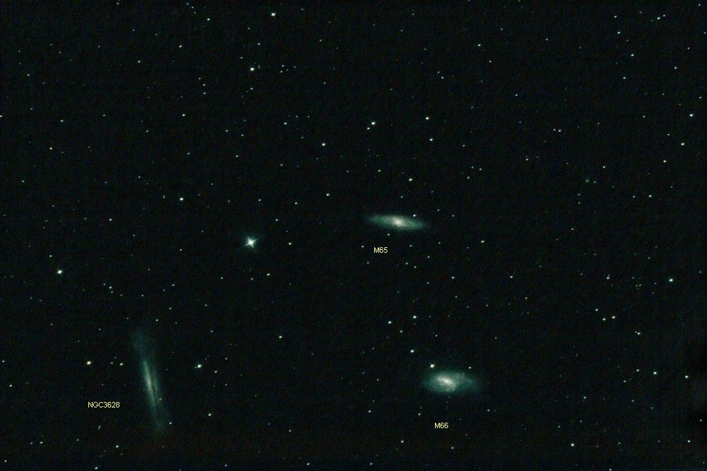 "The trio in Leo, the M 65, M 66 and NGC 3628 galaxies. Credit ""Chamois"", the person's pseudonym on the forum."