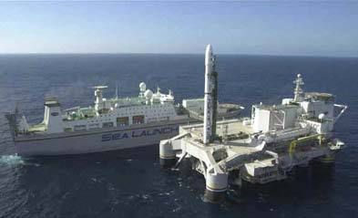 On Sea Launch, satellites are launched from a semi-submersible platform.
