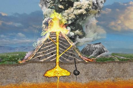 Cross section of a stratovolcano. (Credits: Dorling Kindersley Ltd. 2004)