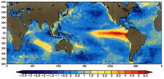El Niño caused temperature anomalies in 1997. The warm colours show a positive anomaly (therefore an increase in temperature). One can see that the temperature increased across the Western Pacific and along the American coasts. © NOAA, public domain
