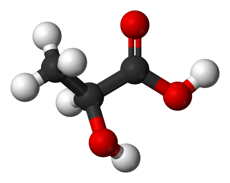 Lactate is the  ionic form of lactic acid. © Benjah-bmm27, Wikimedia, public domain