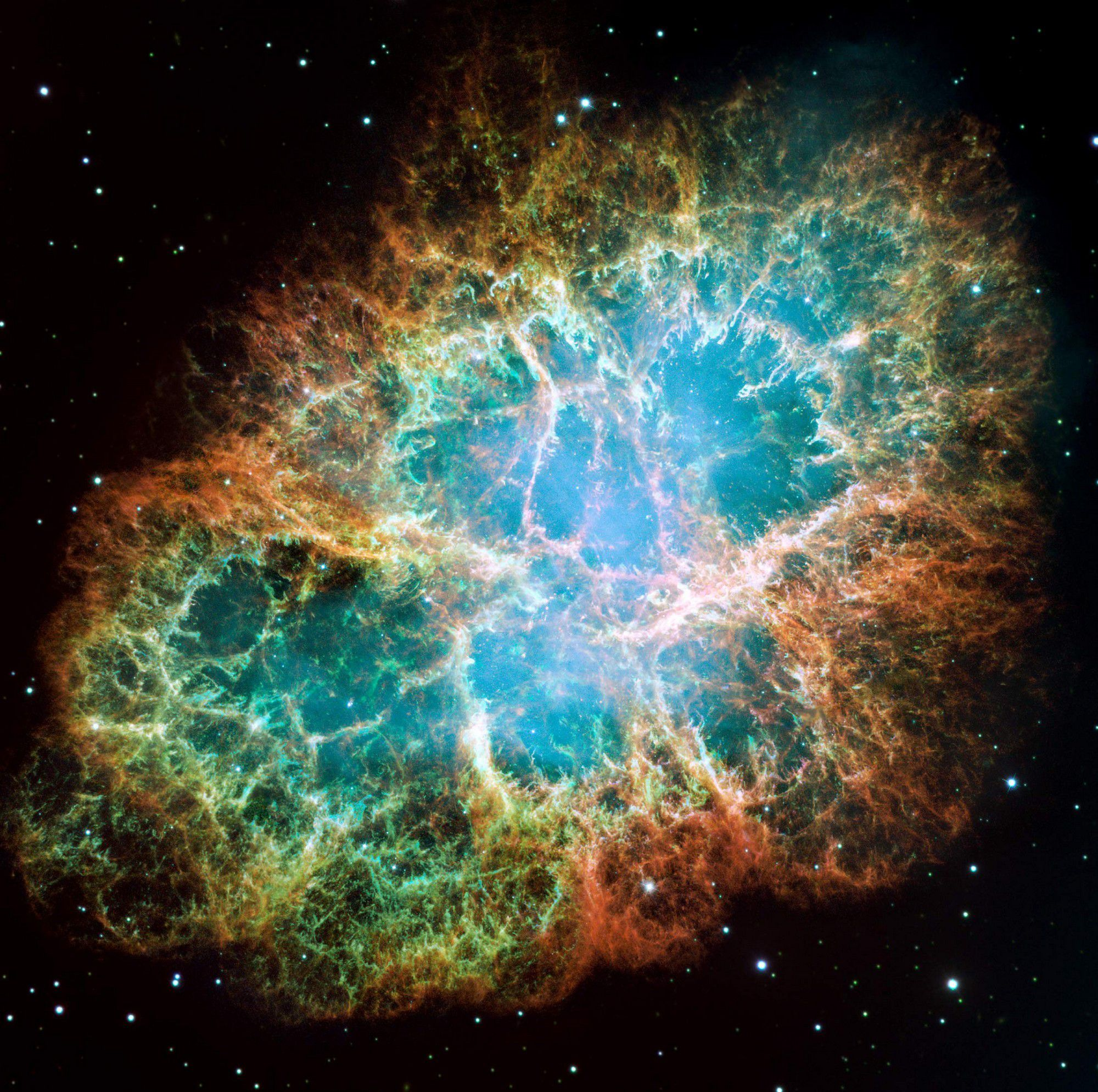 All the beauty and complexity of the filaments of gas that form the Crab nebula can be seen on this image from the Hubble space telescope. Credit NASA