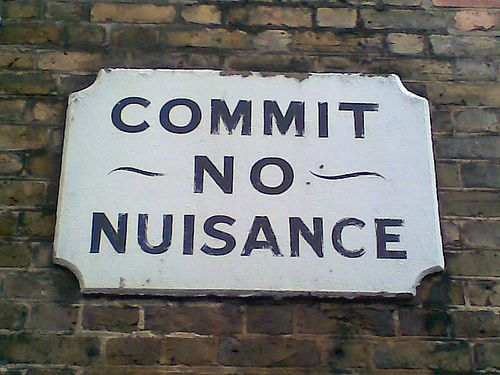 """Do not create nuisances"". Nuisances can damage neighbourhood relations. © i, max CC by-nc-sa"