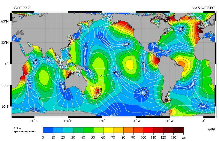 An ocean map of amphidromic points. The points where the tide is zero are located at the intersection of the white lines.  © NASA / Goddard Space Flight Center, Jet Propulsion Laboratory, Topex/Poseidon