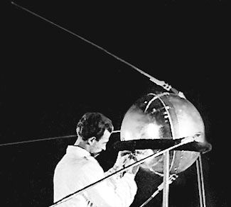 The actual Sputnik 1 being checked on the ground. Russian archives.
